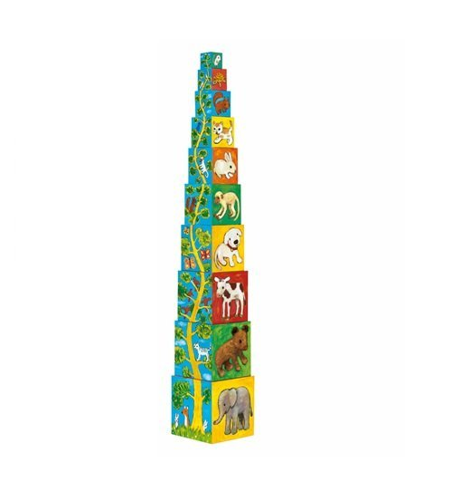 Babajáték - toronyépítő - állatok és kicsinyeik 8506