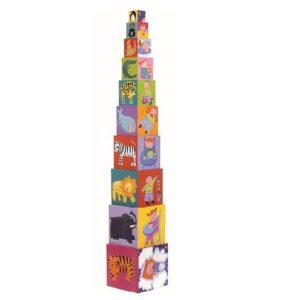 Toronyépítő kocka- Tevékenységek, számok és állatok