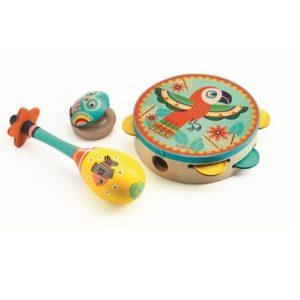 Játékhangszer készlet – Csörgődob, rumbatök, kasztanyetta