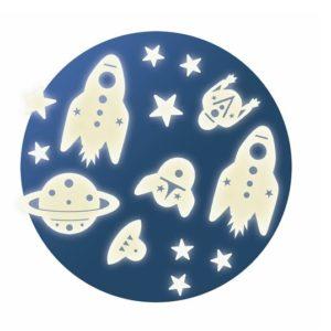 Fluoreszkáló falmatrica – az űrben