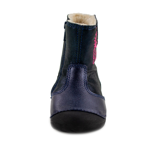 D.D.Step - Vízlepergető téli gyerekcipő - bundás, cipzáras csizma - bagoly - lány