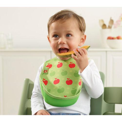 Extra nedvszívó előke ételgyűjtő zsebbel - zöld alma