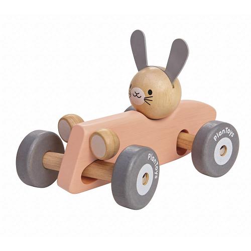 Fa játék - nyuszis versenyautó