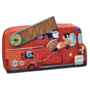 Formadobozos mini puzzle – tűzoltóautó – 16 db-os