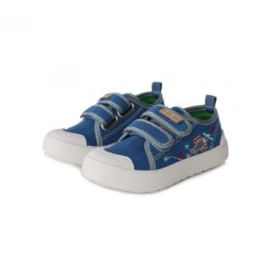 D.D.Step  – Vászon gyerekcipő bőr talpbetéttel – kék repülő – fiú