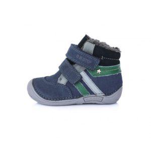 D.D.Step – Vízlepergető téli gyerekcipő – bundás, tépőzáras cipő – kék – szürke – fiú
