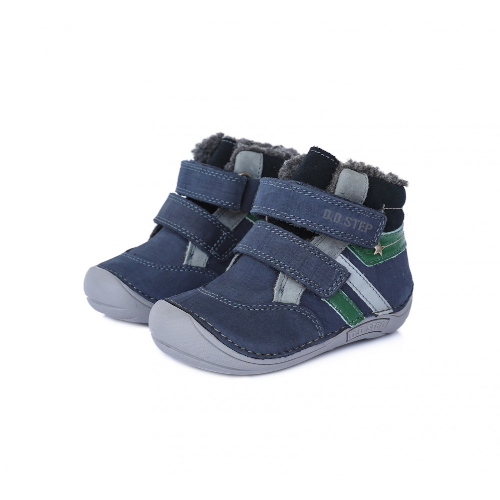 D.D.Step Vízlepergető téli gyerekcipő bundás, tépőzáras cipő kék szürke fiú