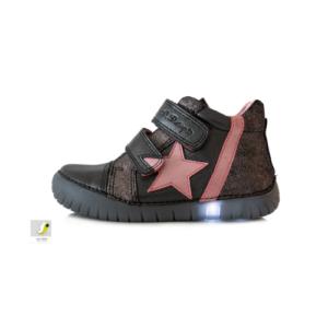 D.D.Step – Világító átmeneti gyerekcipő – zárt cipő – fekete, csillagos – lány