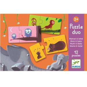 Párosító puzzle – állatok és kicsinyeik – 12 db-os