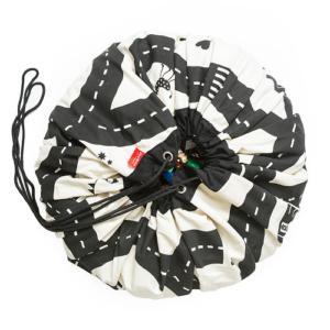 Játéktároló zsákká alakítható játszószőnyeg – autópálya