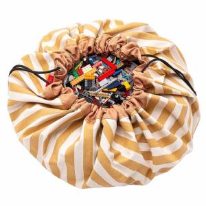 Játéktároló zsákká alakítható játszószőnyeg – mustár