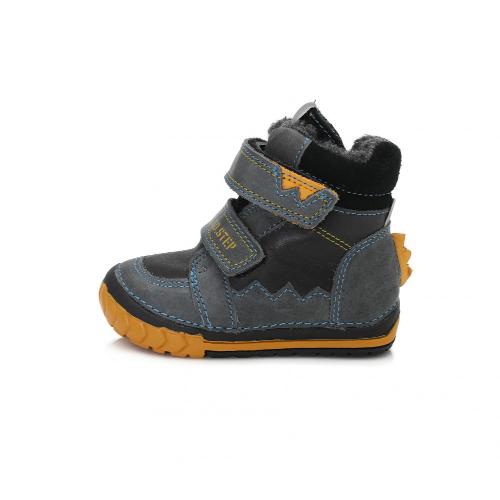 D.D.Step Vízlepergető téli gyerekcipő bundás, tépőzáras csizma fekete sárga fiú