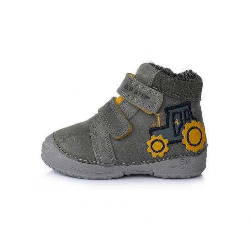 D.D.Step Vízlepergető téli gyerekcipő bundás, tépőzáras cipő szürke traktor fiú