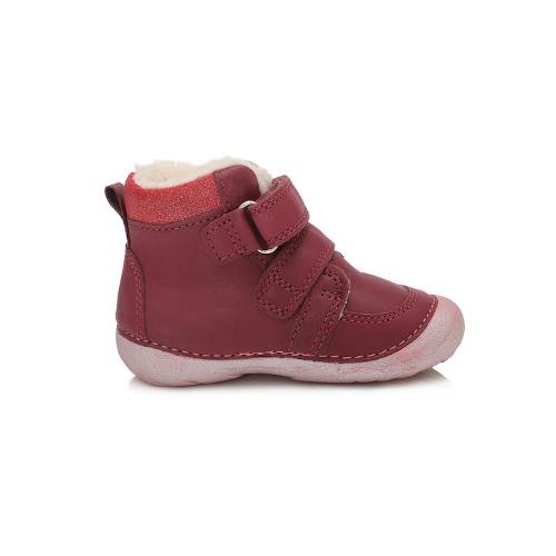 D.D.Step Vízlepergető téli gyerekcipő bundás, magasszárú cipő piros unikornis lány