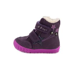 D.D.Step – Vízlepergető téli gyerekcipő – bundás, tépőzáras csizma – lila – csillag – lány
