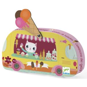 Formadobozos mini puzzle – fagyis kocsi- 16 db-os