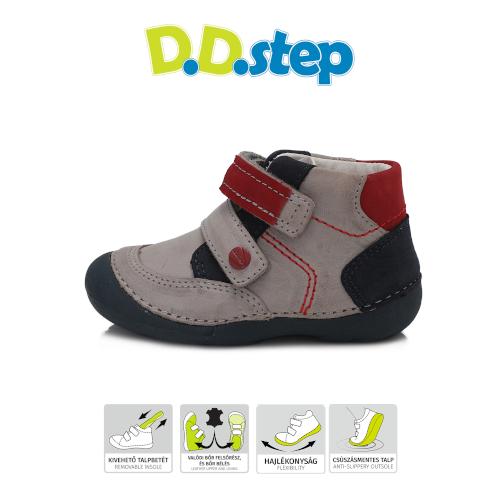 D.D.Step Vízlepergető Átmeneti gyerekcipő szürke piros kisfiú cipő