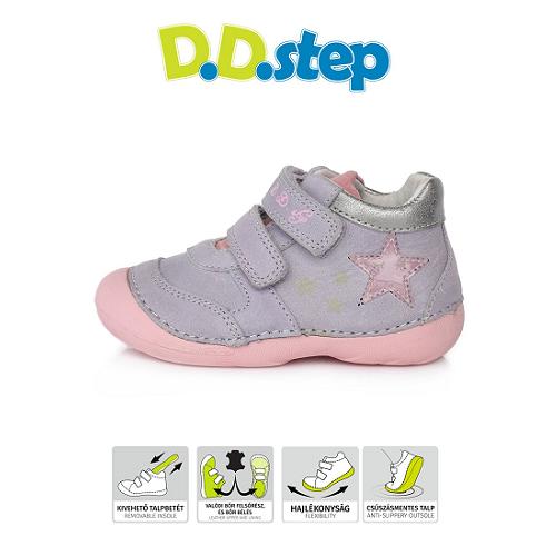 D.D.Step Vízlepergető Átmeneti gyerekcipő rózsaszín csillag kislány cipő