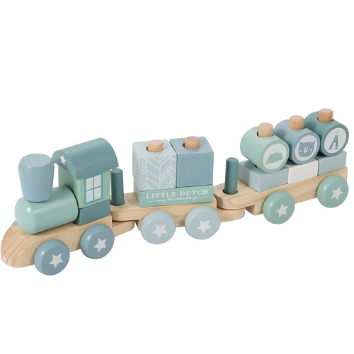 Little Dutch - Fa játékvonat építőelemekkel - kék