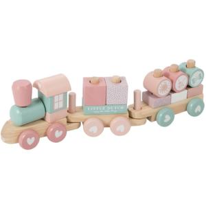 Little Dutch – Fa játékvonat építőelemekkel – rózsaszín