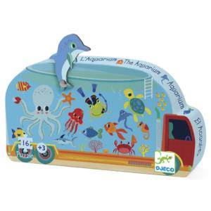 Formadobozos mini puzzle – Mozgó akvárium – 16 db-os