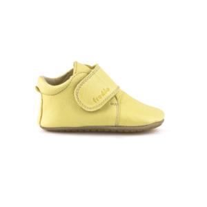 FRODDO – Puhatalpú, bőr gyerekcipő az első lépésekhez – sárga bokacipő