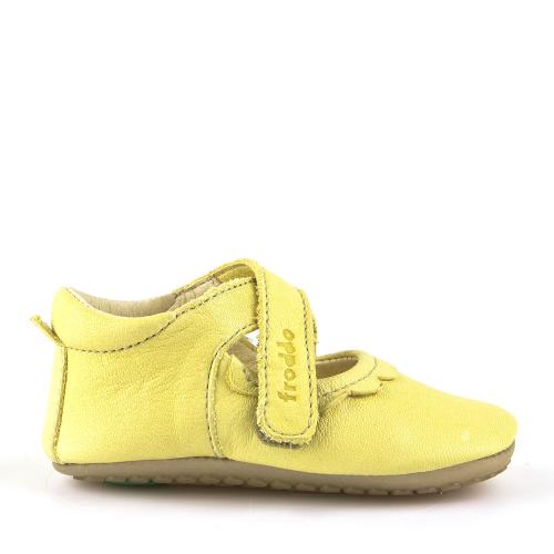 FRODDO - Puhatalpú, bőr gyerekcipő az első lépésekhez - sárga szandál