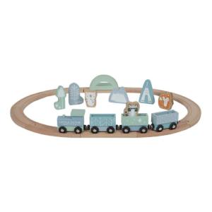 Little Dutch – Fa játékvonat sínpályával – kék