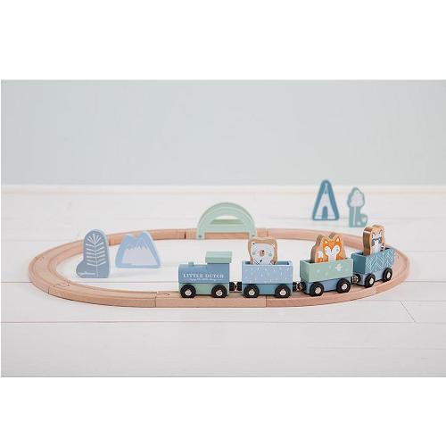 Little Dutch - Fa játékvonat sínpályával - kék