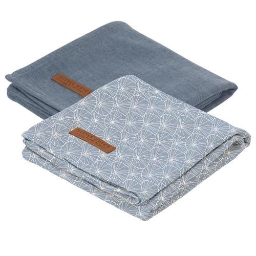 Little Dutch - Textilpelenka 2db 70X70 cm - Lily leaves - kék