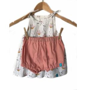 Nyári kislány ruha szett – nyuszi