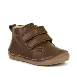 FRODDO – Átmeneti, magasszárú, bőr gyerekcipő  – csokibarna