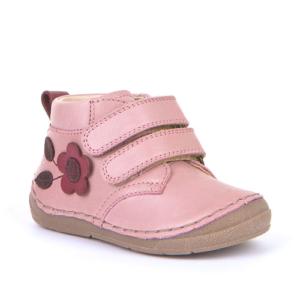 FRODDO – Átmeneti, magasszárú, bőr gyerekcipő – rózsaszín bordó virágos