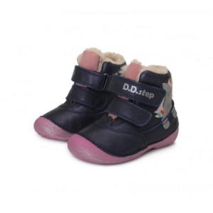 D.D. Step – Téli gyerekcipő – Sötétkék, rózsaszín, unikornisos bundás cipő – lány