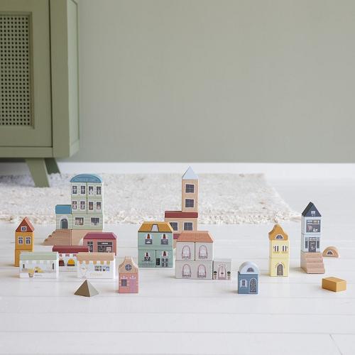 Little Dutch - Fa városi vasút kiegészítő - Város építőkockák