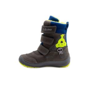 D.D.Step – Téli gyerekcipő – Szürke, kék, zöld (ufó) magasszárú, bundás csizma – fiú