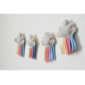 Gyerekszoba dekoráció - Pasztell felhő füzér babszobába