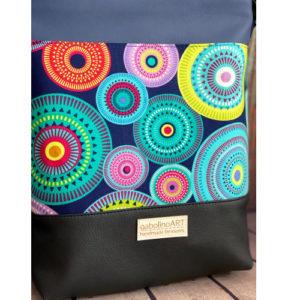 GabolinoArt – Textilbőr, női oldaltáska – Everyday – sötétkék, színes körök