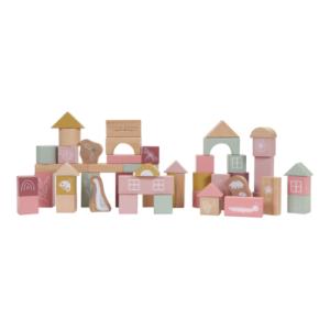 Little Dutch – Fa építőkocka 50 db – rózsaszín