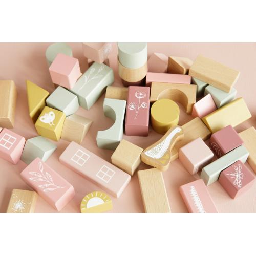Little Dutch - Fa építőkocka 50 db - rózsaszín
