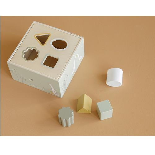 Little Dutch - olívazöld fa formabedobó kocka