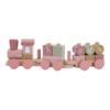 Little Dutch - Fa játékvonat építőelemekkel - rózsaszín virágos