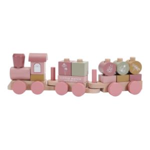 Little Dutch – Fa játékvonat építőelemekkel – rózsaszín virágos