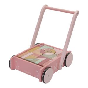 Little Dutch – Járássegítő építőkockával – pink