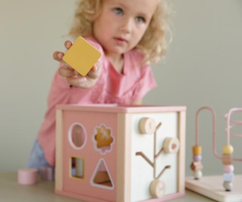 Little Dutch - Készségfejlesztő kocka fából - pink