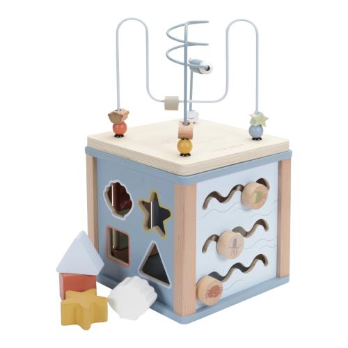 Little Dutch - Készségfejlesztő kocka fából - kék, óceán