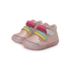 D.D Step – Átmeneti zárt gyerekcipő – Rózsaszín, átlátszó talpú, szivárvány – lány