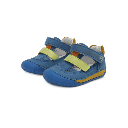 D.D. Step - Nyitott gyerekcipő - zárt szandál - Kék, zöld tépőzárral