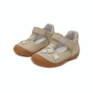 D.D. Step – Nyitott gyerekcipő – zárt bőrszandál – krémszínű, virágos