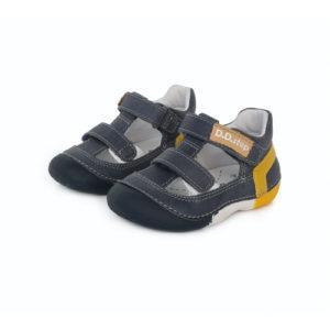 D.D. Step – Nyitott gyerekcipő – zárt szandál – acélkék, mustár és fehér színnel